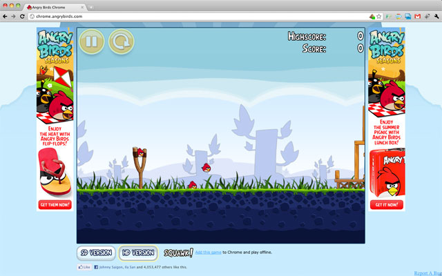 angry birds on web browser