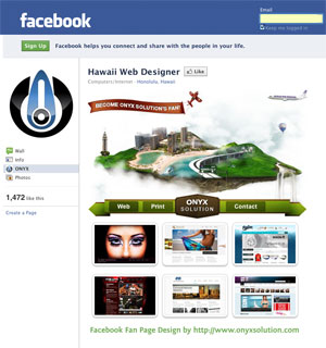 Hawaii web designer facebook fan page design